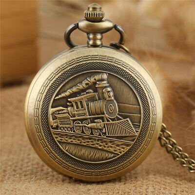 Antique Bronze Locomotive Men's Quartz Analog Pocket Watches Necklace Chain