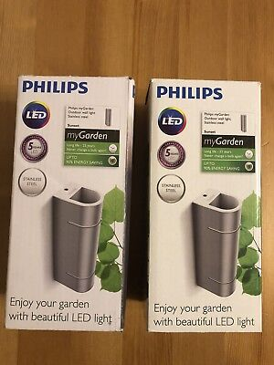 "2X PHILIPS Sunset Stainless Steel Wall light Outdoor lighting LED 173124716 ""New"