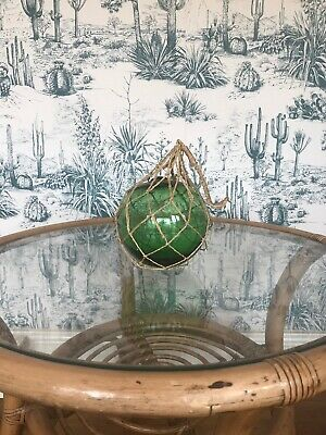 Vintage Retro Green Glass Ball In String Nautical Fishermans Boat Float Buoy