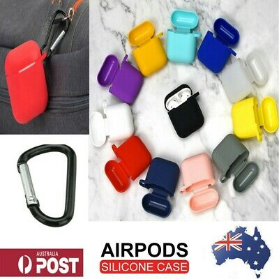 Apple Airpods silicone case cover skin Anti-lost Carabiner shockproof protective
