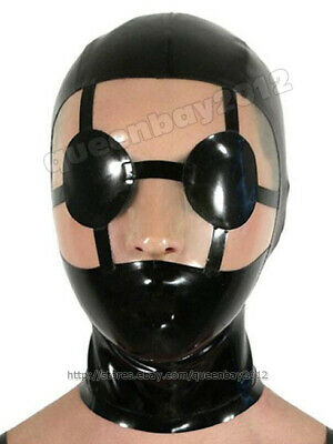 Neu!! 100% Latex Rubber Hood Augenmaske Catsuit Suit Anzug Party Kostüm Custom