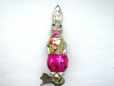 Vintage USSR Russian Christmas XMAS New Year Glass Ornament on clip Hare