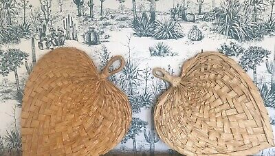 Pair Of Large Vintage 1970s Palm Leaf Fans/ Wall Hangings/ Boho/tiki/ Cool/funky
