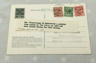 IRA 1916 Rising Political Cross Stamp Ireland Dublin Postcard Sackville St. S333