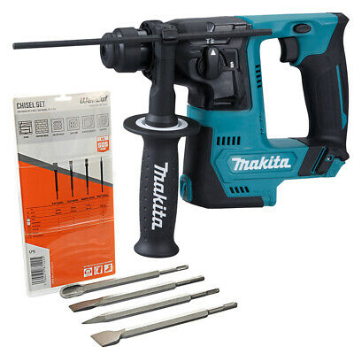 Makita HR140 10.8V CXT SDS+ Rotary Hammer Drill With 4 Piece SDS Chisel Set