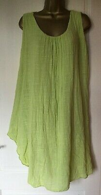 Ladies Cheese Cloth Loose Fit Oversized Cotton Sleeveless Baggy Dress UK12-22/24
