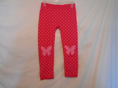 NWT Girls Pink Polka Dot Butterfly Leggings by Wonder Nation Size Small 4-6X