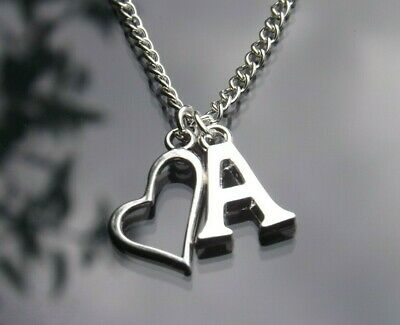 "Personalised Initial 20"" Necklace Heart Outline Pendant & Silver Plated Letter"