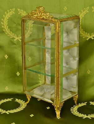 Fabulous Antique French Glass Display Armoire / Casket Silk Lining, Ormolu Crest