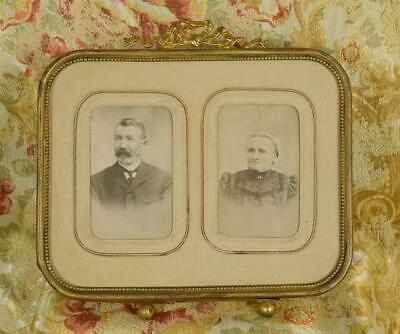 Superb Antique French Brass Easel Double Picture / Photo Frame Ribbon Bow Crest