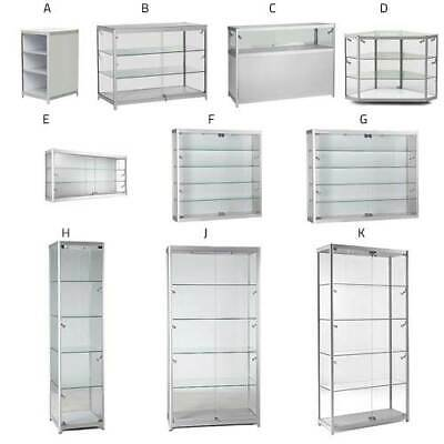 Glass Display Cabinets Counters Wall Units With Locks & LED Lights High Quality
