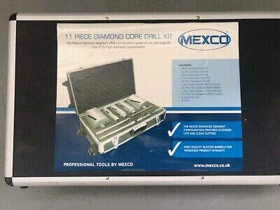 Mexco 11 Piece Dry Diamond Core Drill Bit Set Kit With 115mm Diamond Blade Pack