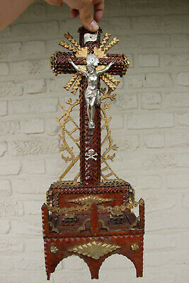 Antique French Tramp art wood carved Crucifix statue religious