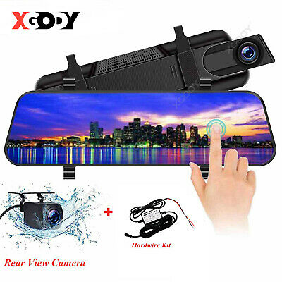 """10"""" 1080P Car DVR + Hardwire Kit Dual Lens Dash Cam Front and Rear Mirror Camera"""