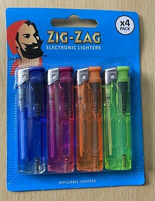 New 4 Pack Zig-Zag Electronic Lighters Refillable With Adjustable Flame
