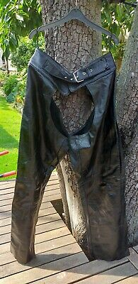 Black Leather Motorcycle Chaps. Size M.