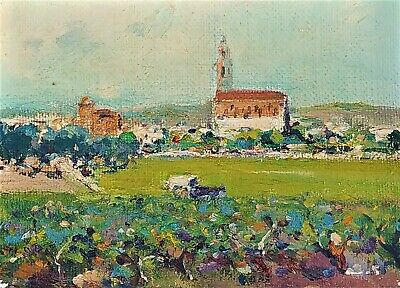 Landscapes. 7 Miniatures. Oil On Wood. Signed Amat. Spain. Circa 1960