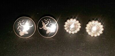 Vintage Siam Sterling Silver Screw Back Clip on and another pair Sterling