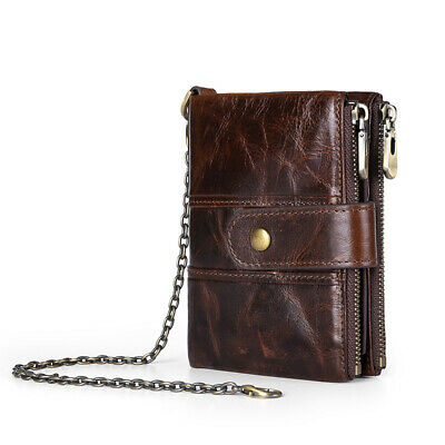 Genuine Leather Men Women Wallet ZIP Coin Hold Biker RFID Bifold Antitheft Chain