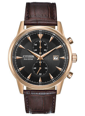 Citizen Eco-Drive Men's Chronograph Rose Gold Tone  43mm Wrist Watch CA7003-06E