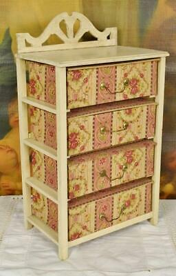 Amazing Antique French Wooden Cabinet, Textile Boudoir Box Drawers, C 1920/30
