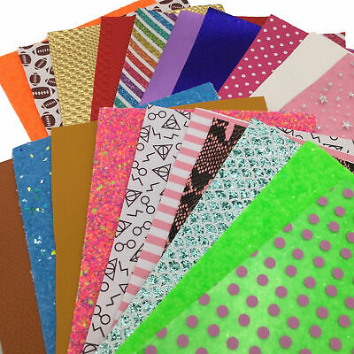 20 SHEETS FAUX LEATHER SHEETS GRAB BAG, Random Mix Sheets and Glitters