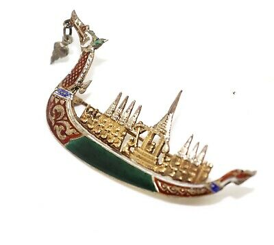 A Lovely Vintage Siam Sterling Silver 925 Enamelled Dragon Ship Brooch #13751