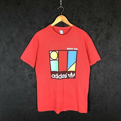 Vintage 1970's Adidas Bitter Kas Made In Spain T Shirt Size M Red