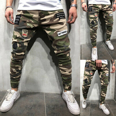 Men's Skinny Camouflage Ripped Jeans Army Style Stretch Frayed Biker Slim Pants