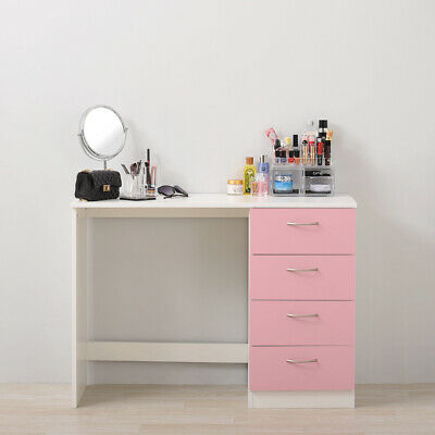 WHITE GLASS MIRROR bedroom Dressing Table bedside cabinet console ...