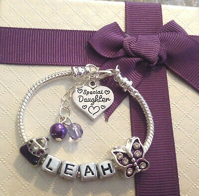 Personalised ANY NAME childrens girls purple butterfly charm bracelet gift box