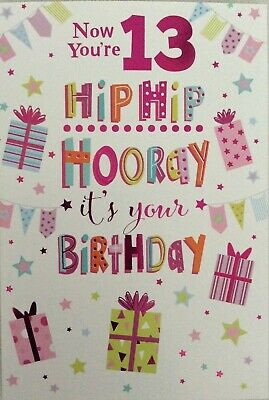 Presents theme by Heartstrings 24 available. Girl/'s Happy 13th Birthday Card