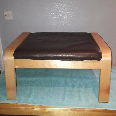 Brown Leather Ikea Poang Footstool