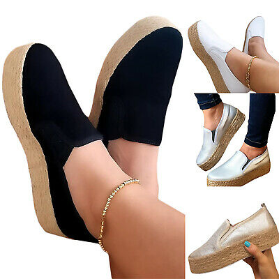 Women Ladies Canvas Trainers Slip On Platform Wedges Espadrilles Shoes Sneakers