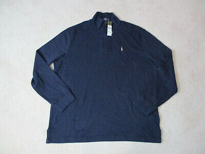 NEW Ralph Lauren Polo Sweater Adult Extra Large Blue Brown Estate Rib Pony Mens
