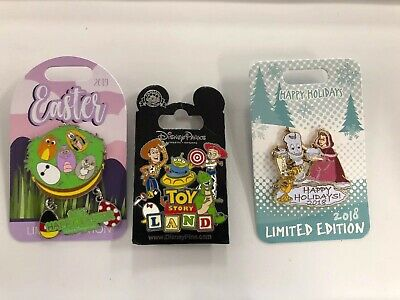 3 Walt Disney Parks Pins!! Toy Story Land! Easter 2019, Happy Holidays 2018 *10
