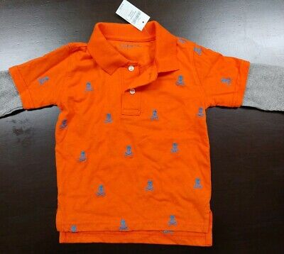 Boys Baby Gap Orange Polo with Grey Flannel Sleeves & Skulls TODDLER 5 Year Old