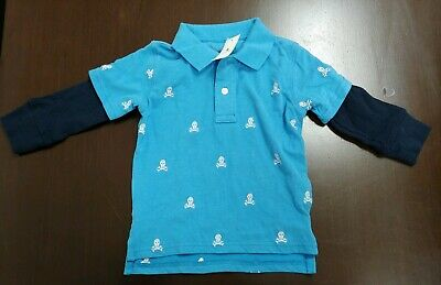 Boys Baby Gap Blue Polo with Navy Flannel Sleeves Toddler 4 Years Old