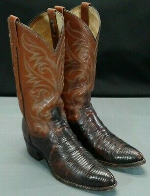 829a7882ac4 VINTAGE DAN POST Lizard Western Cowboy Boots Men's 9 D Brown Leather Made  In USA