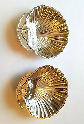 Seashell Scallop Shell Silver Plated Dishes Set of 2 Vintage