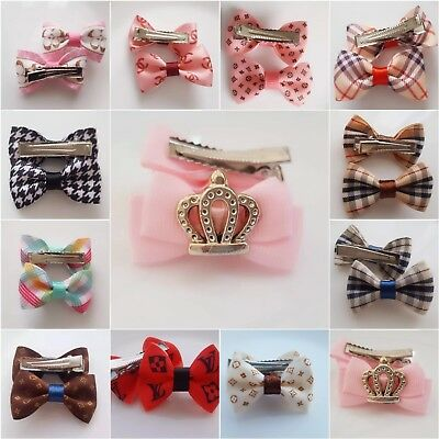 Dog Hair Bows Clip Pet  Puppy Tie Fashion Handmade  Accessories  UK