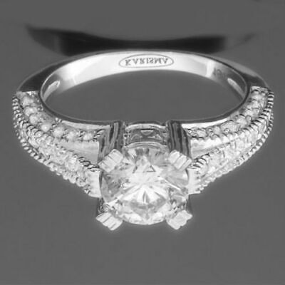 Anniversary Real Ornate Vs Diamond Round Ring Accents 1.65 Ct 18 Kt White Gold