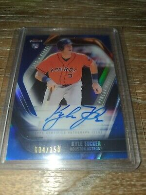 2019 KYLE TUCKER TOPPS FINEST FIRSTS BLUE REFRACTOR ROOKIE AUTO SN# 4/150 astros