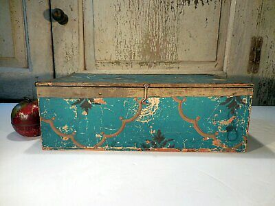 AAFA Primitive Blue Wallpaper Box Antique Wallpaper Covered Wooden Table Box