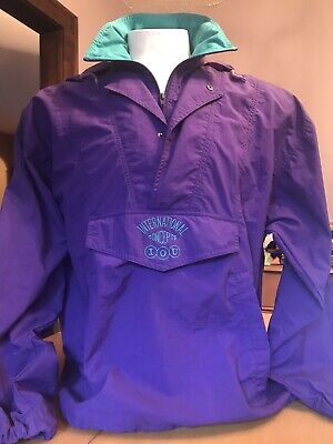 VINTAGE 1990's IOU PURPLE NYLON PULLOVER WINDBREAKER JACKET large