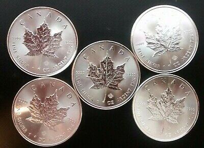 2014 1 oz Canadian Maple Leaf .9999 Fine Silver (Lot of 5) Ships Free