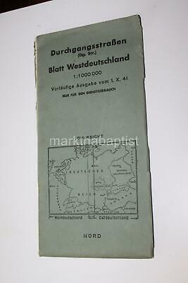 1941 WWII Era MASSIVE 4 x 3 Ft German Foldout Map of West Germany Passage Roads