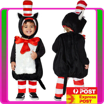 Kids Toddler Dr Seuss Cat In The Hat Costume Party Book Week Boys Child Outfit