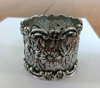 Hand Chased Repousse S. Kirk & Son Sterling Silver Aesthetic Napkin Ring Anna