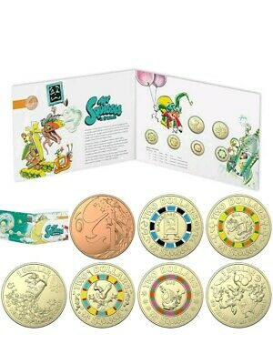 2019 Mr Squiggle & Friends 4 x Coloured $2, 2 x $1 1c 7-Coin Uncirculated Set